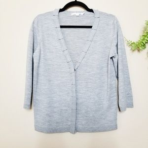 Boden | Gray Wool Button Front Ruffle Cardigan